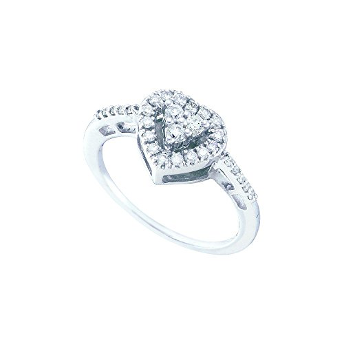 Jewels By Lux 14kt White Gold Womens Round Diamond Heart Cluster Ring 1/3 Cttw Ring Size 5.5