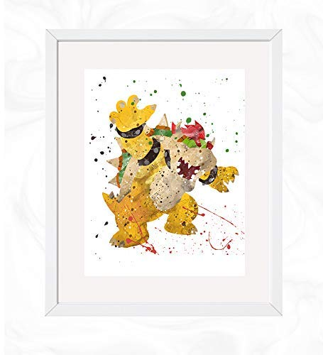 Bowser Prints, Mario Watercolor, Nursery Wall Poster, Holiday Gift, Kids and Children Artworks, Digital Illustration Art]()