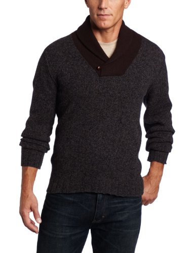Benson Men's Tweed Cowl Neck Sweater, Charcoal, Small at Amazon ...