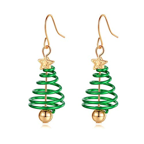 (Christmas Tree Dangle Hook Earrings, Holiday Party Drop Earrings, Festival Gift Idea, Thanksgiving Themed Earrings, Small Cute Christmas Costume Jewelry for Women Girls, Handmade Xmas Tree Earrings)