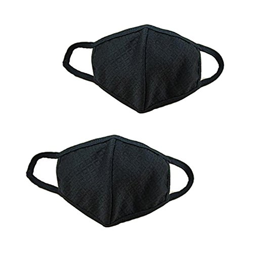 Mouth Mask Respirator (Alimitopia 2 Pcs Black Top Quality Unisex Adult Three Ply Activated Carbon Cotton Face Mouth Mask Health Anti Dust Anti-fog Cycling Masks Respirators (Black(2pcs)))