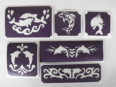 TEMPORARY BODY TATTOO set of 6 designs dolphins designs GLITTER TATTOO airbrush facepaint by BHD Vinyls (Image #2)
