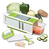 CHEFHQ 5-in-1 Box Grater and Vegetable Peeler Handheld Large Fine Julienne Food Shredder Cheese Grater Slicer and Storage Container 4 sided Kitchen Hand Graters Dishwasher Safe Stainless Steel