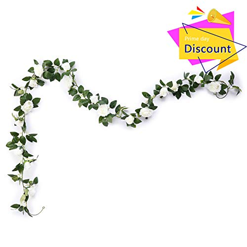 Aurdo Artificial Rose Vine Flowers with Green Leaves 7.5ft Fake Silk Rose Hanging Vine Flowers Garland Ivy Plants for Home Wedding Party Garden Wall Decoration (White) ...