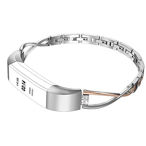 Wearlizer Small Silver Rose Gold Women Metal Replacement Band
