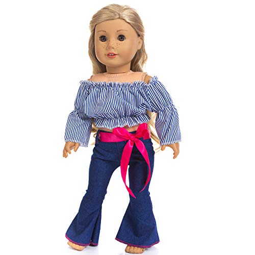 UEECHY 3 Piece Doll Clothes Set for American 18 Inch Girl Doll, Off Shoulder Blouse Flare Trousers Outfits Doll Accessories (Style A)