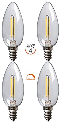 SleekLighting 2 Watt E12 LED Filament Candelabra Dimmable Light Bulb, Warm White 2700K Chandelier Decorative Torpedo Tip, Clear Glass Cover (25W Incandescent Replacement) 4pack