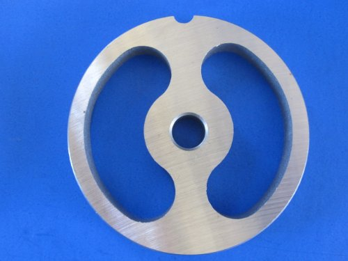 (#12 size Kidney shaped Sausage Stuffing plate for Hobart, LEM, Cabelas, TorRey, MTN Meat Grinders. Stainless steel disc = no rust!)