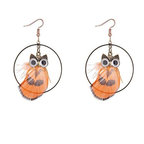It Drop Bangles (Auwer Pendant Earrings, Popular Retro Owl Feather Earrings Temperament Pendant Circle Circle Earrings (Orange))