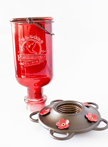 Beautiful Red Antique Bottle Hummingbird Feeder - Includes 5 Nectar Perches! 100% Guaranteed That Your Hummers will Love!