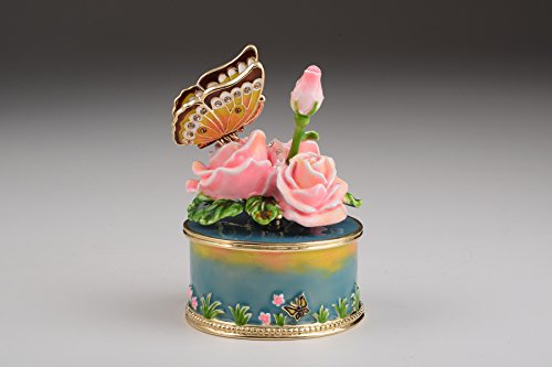 (Keren Kopal Pink Roses with Butterfly Faberge Style Trinket Box)