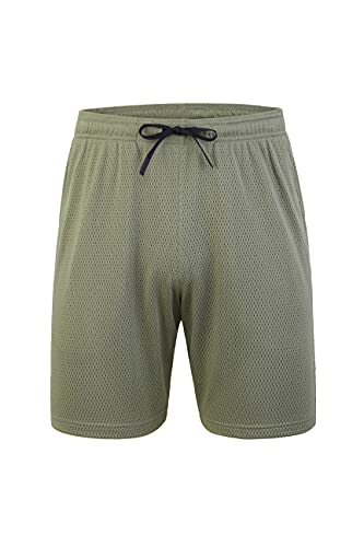 C/N ARECON Mens Basketball Mesh Knits Elastic Waist Shorts with Lightweight Breathable Athletic Workout Gym Sweat Shorts