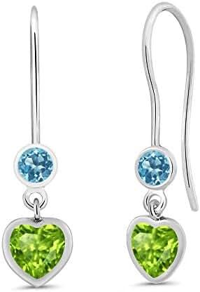 1.32 Ct Heart Shape Green Peridot Swiss Blue Topaz 925 Sterling Silver Earrings