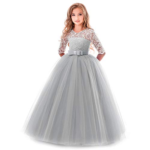 Flower Girl Long Princess Dress Vintage Lace Maxi Gown Kids Formal Wedding Bridesmaid Pageant Tulle Dresses Little Big Girls Elegant Bowknot Dance First Communion Birthday Prom Dresses Gray 7-8Y]()