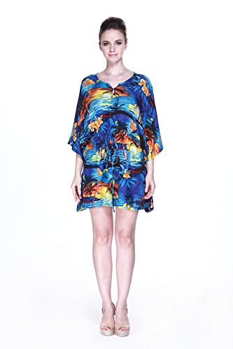Hula Batik's Women's Hawaiian Poncho with Tie Dress in Sunset Blue (Hula Tie)