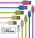 Lightning Cable 5 Pack (3.3 Feet) for iPhone in Pink, Blue, Green, Yellow & White - Cable w/ Lightning Connector - Lightning to USB cable / Cord for iPhone Compatible with iPhone 6 & 5