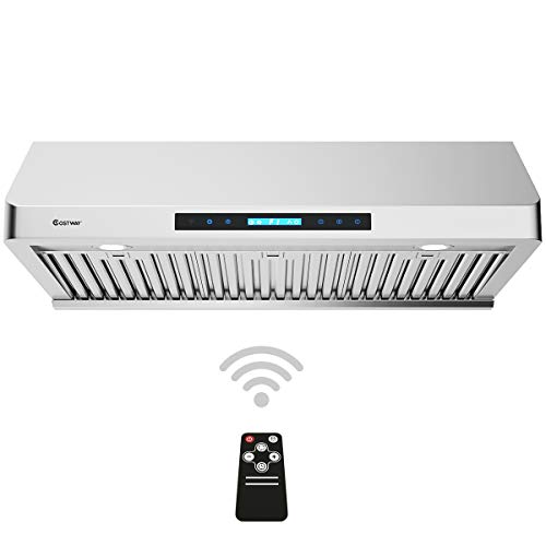 "COSTWAY Under-Cabinet Range Hood, 36-Inch 900 CFM, 4 Speed Touch Screen Panel, Stainless Steel Kitchen Vent Fan w/IR Remote Control, LED Lights and Wireless Stove Vent (36"")"
