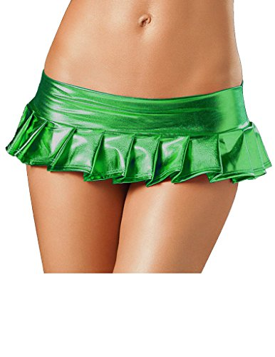 Women's PVC Faux Leather Wetlook Pleated Clubwear Mini Skirt (Pleated Metallic Leather)