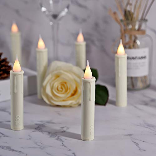 10 pcs Taper LED Flameless Candles, Clip-On Candlestick Lights with Remote Control Clips, Ivory Drip Effect Taper Candles for Windows, Birthday, Church, Hotels, Bars Decor