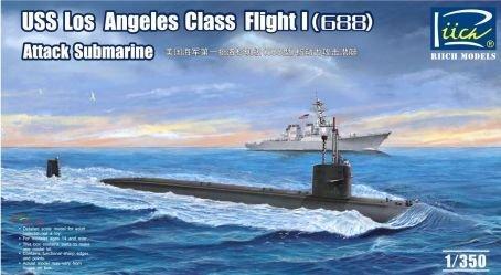 Riich Models USS Los Angeles Class Flight I (688) Attack Submarine 1:350 Scale Military Model Kit