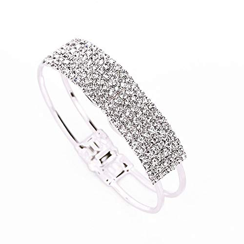SL SweetLove Creative Design Double Layer Hollow Out Wide Bangle for Women Crystal Cuff Bracelet