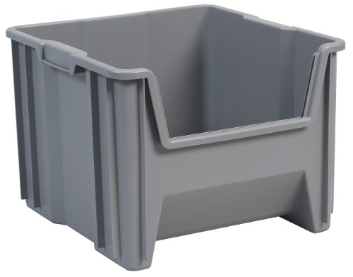 Akro-Mils 13018 Stak-N-Store Stacking Hopper Front Plastic Storage Bin, Grey, Case of 2