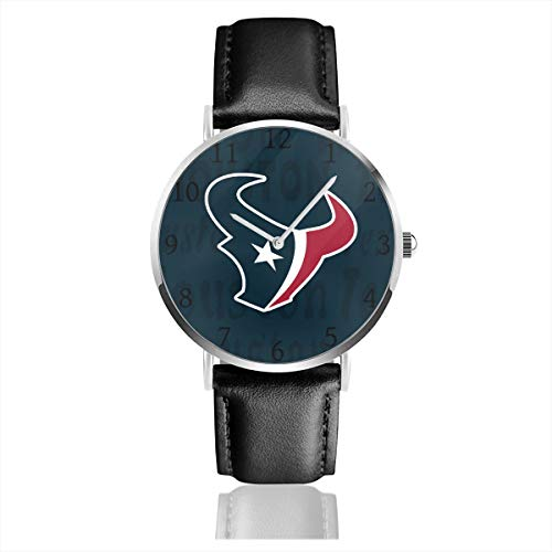 Gdcover Custom Houston Texans Unisex Casual Quartz Wrist Watches with PU Leather Band