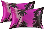 ZXZNC Satin Pillowcase for Hair and Skin Purple Cute Unicorns Stars and Planet Pillow Cases Set of 2