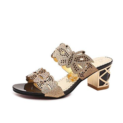 DM&Y 2017 versi¨®n coreana del verano del cuadrado hueco con las sandalias femeninas y zapatillas con el diamante Black