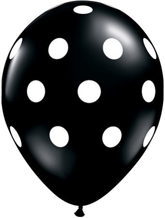 Big Polka Dots Balloons - 11-Inch Black with White Dots