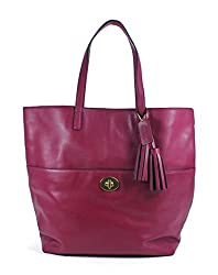 COACH Legacy Leather Large Turnlock Tote in Brass / Deep Port 26461
