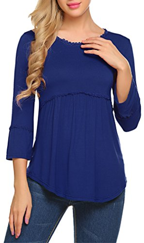 Kancystore Women Plus Size Open Sleeve Ruched Hem Lace Decored Top Tee Blue XXL