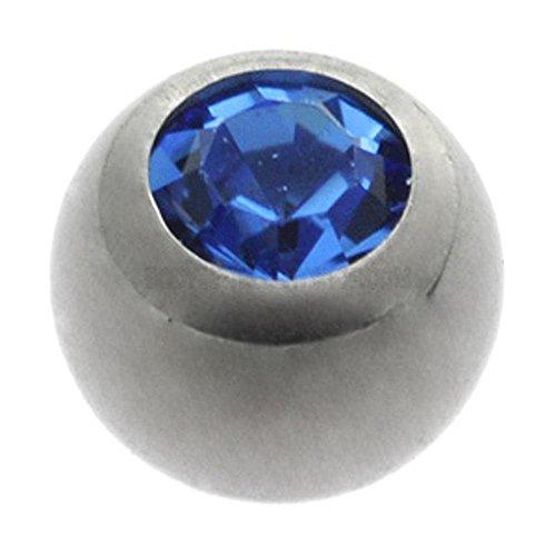 Titanium Threaded Jewelled Balls - Ti-Glo - Dark Blue 4mm ()