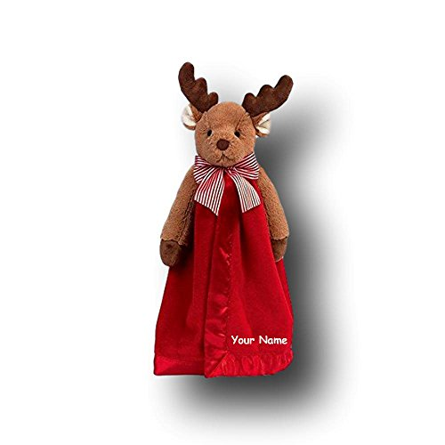 Personalized Bearington Lil Reindeer Christmas Plush Snuggler Security Blanket Blanky - 15 Inches