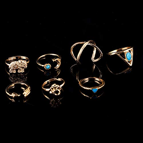 Monowi 7Pcs/Set Boho Knuckle Rings Turquoise Arrow Cross Elephant Midi Ring Hot Sale | Model RNG - 19672 |