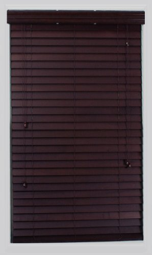 Calyx Interiors Real Wood Venetian Blind, 35-Inch Width by 60-Inch Height, Mahogany - Home Interior Decor