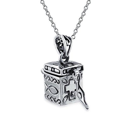Ichthys Jesus Fish Cross Prayer Box Locket Keepsake Pendant For Women Men 925 Sterling Silver Necklace With Chain