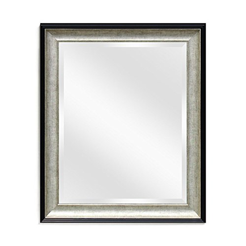 Wall Beveled Mirror Framed - Bedroom or Bathroom Rectangular Frame Hangs Horizontal & Vertical by EcoHome (21x25, Black & Brushed Silver)