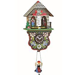 Trenkle Kuckulino Black Forest Clock Weather House with Quartz Movement and Cuckoo Chime TU 2025 SQ