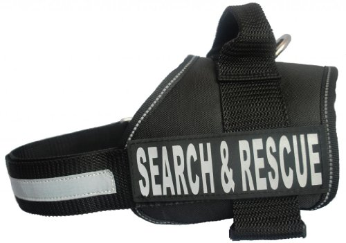 Search & Rescue Harness Vest Cool Comfort Nylon for dogs Small Medium Large Girth Purchase comes with 2 Reflective Search & Rescue removable patches. Please measure your dog before ordering. by Doggie Stylz