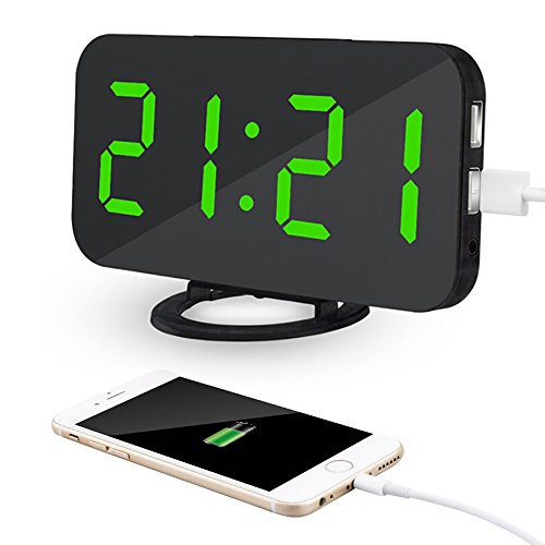 Kidshome 2 In 1 Creative LED Digital Alarm Clock with USB Ports Mirror Surface Brightness Adjustable Table Clock Suitable for Home Office Hotel Room Decorate (Black)(Green Dispaly)