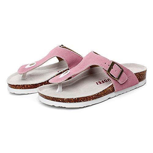 Asifn Women's Sandal Cork Sandals Slide Flat Strap Buckle Girl Leather Footbed Adjustable Casual Double Toe Shoes Summer Open Platform Suede Slides Pink(7 US Men/8 US Women,24.5 cm Heel to -
