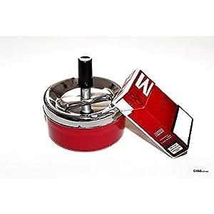 Cenicero Cenicero Chapa de metal–5pieza–Rojo–9,5cm de diámetro