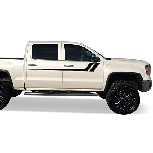 Bubbles Designs Decal Graphic Sticker Door Sport Stripe Kit Compatible with GMC Sierra 2014-2017 (Black)