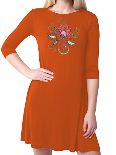 Kurti Mania Boatneck Swing Chiffon Top Floral Motif With Black Pants (Orange, (Motive Boatneck)