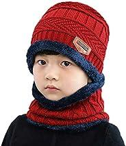1Se(2PCS Unisex Kids Children(3-12 Years Old) Thicken Plush Knitting Winter Warm Beanie Hat Scarf Set Circle C