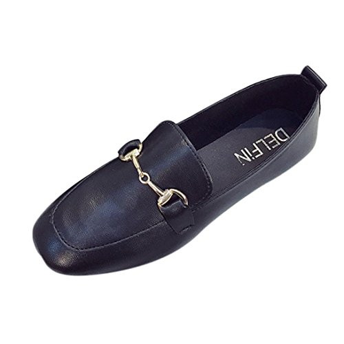 Anxinke Women Casual Shallow Mouth Slip-On Black Comfy Loafers Flat Shoes With Metal Buckle (US:6.5) ()