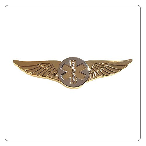 Flight Wings Star of Life Paramedic EMT Pilot Medical Gold with Silver - A 119