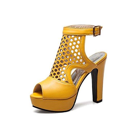 Gladiador Toe de ZHZNVX Noche Talón Negro Amarillo Carreras US8 Verano Office Hebilla UK6 para PU Sandalias Amarillo de Blanco Toe Chunky Mujer Rojo Zapatos CN39 Peep Abierto Partido UE39 w7qrxUq50