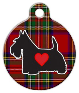 Tartan Scottie Pet ID Tag for Dogs and Cats - Dog Tag Art - SMALL SIZE by Dog Tag Art